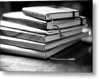 Stack Of Notebooks Metal Print by FOTOGRAFIE melaniejoos