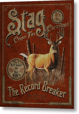 Stag Record Breaker Sign Metal Print by JQ Licensing