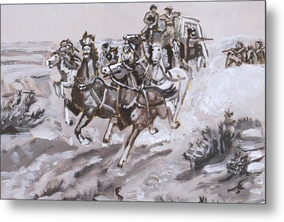 Stagecoach Attacked Historical Vignette Metal Print by Dawn Senior-Trask