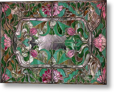 Stained Glass Art Nouveau Window Metal Print by Mindy Sommers