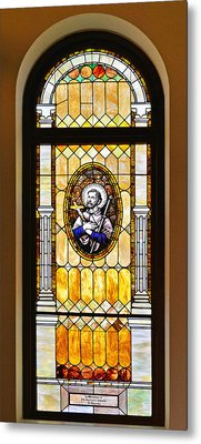 Stained Glass Window Father Antonio Ubach Metal Print by Christine Till