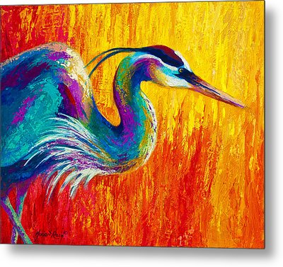 Stalking The Marsh - Great Blue Heron Metal Print by Marion Rose