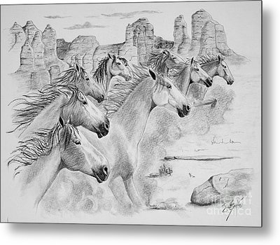 Stampede In Sedona Metal Print by Joette Snyder