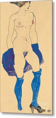 Standing Woman With Shoes And Stockings Metal Print by Egon Schiele