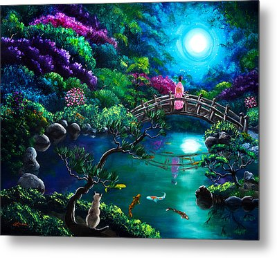 Star Gazing On Moon Bridge Metal Print by Laura Iverson