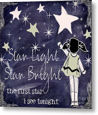 Star Light Star Bright Chalk Board Nursery Rhyme Metal Print by Mindy Sommers