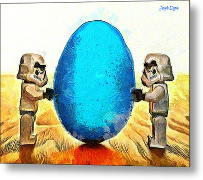 Star Wars Blue Egg - Da Metal Print by Leonardo Digenio
