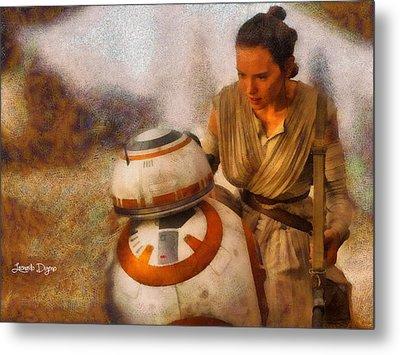 Star Wars Rey And Bb-8  - Wax Style -  - Da Metal Print by Leonardo Digenio