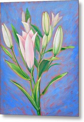 Stargazing Lilies Metal Print by Linda Wilson