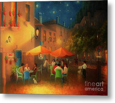 Starry Night Cafe Society Metal Print by Joe Gilronan
