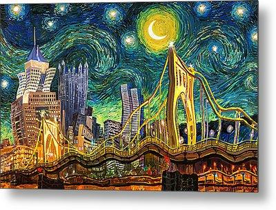 Starry Night In Pittsburgh Metal Print by Frank Harris