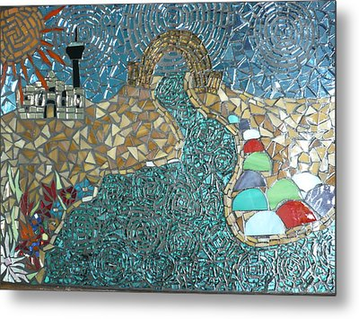 Starry Riverwalk Metal Print by Ann Salas