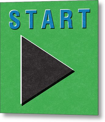 Start Button Metal Print by Linda Woods