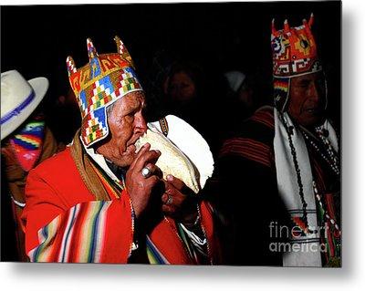 Start Of Aymara New Year Ceremonies Bolivia Metal Print by James Brunker