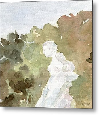 Statue Of A Woman Watercolor Paintings Of France Metal Print by Beverly Brown Prints