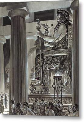 Statue Of Zeus At Olympia Metal Print by Peter Jackson