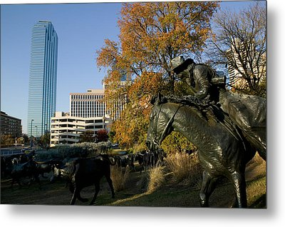 Statues In A Park, Cattle Drive Metal Print by Panoramic Images