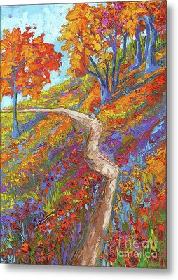 Stay On The Path - Modern Impressionist, Landscape Painting, Oil Palette Knife Metal Print by Patricia Awapara