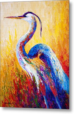 Steady Gaze - Great Blue Heron Metal Print by Marion Rose