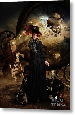 Steampunk Time Traveler Metal Print by Shanina Conway