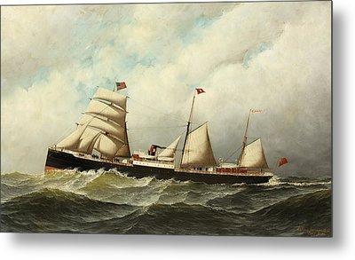 Steamship   Cornwall Metal Print by Antonio Jacobsen