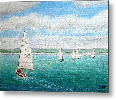'steer The Course' - West Kirby Marine Lake, Wirral Metal Print by Peter Farrow
