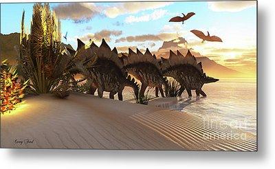 Stegosaurus Dinosaur Metal Print by Corey Ford