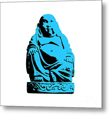 Stencil Buddha Metal Print by Pixel Chimp