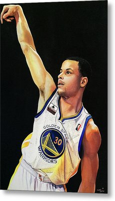 Stephen Curry Gold State Warriors Metal Print by Michael  Pattison