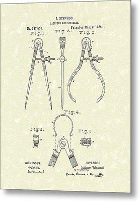 Stevens Calipers And Dividers 1886 Patent Art Metal Print by Prior Art Design