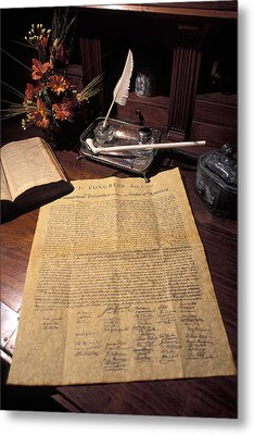 Still Life Of A Copy Of The Declaration Metal Print by Richard Nowitz