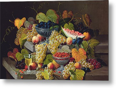 Still Life Of Melon Plums Grapes Cherries Strawberries On Stone Ledge Metal Print by Severin Roesen