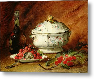 Still Life With A Soup Tureen Metal Print by Guillaume Romain Fouace