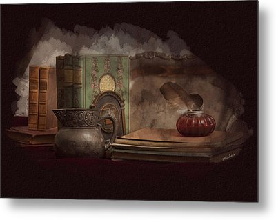 Still Life With Antique Books, Silver Pitcher And Inkwell Metal Print by Michele Loftus