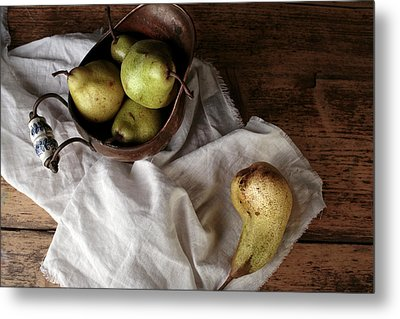 Still-life With Arrangement Of Pears  Metal Print by Nailia Schwarz