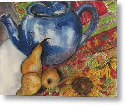 Still Life With Blue Teapot One Metal Print by Susan Adams