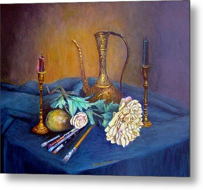 Still Life With Candlesticks And Brass Metal Print by Stephen  Hanson