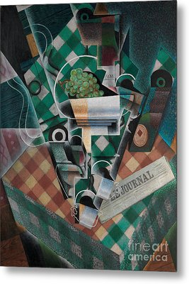 Still Life With Checked Tablecloth Metal Print by Celestial Images