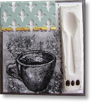 Still Life With Coffee Cup Beans And Spoon Metal Print by Peter Allan