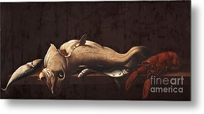 Still Life With Fish And Lobster Metal Print by MotionAge Designs