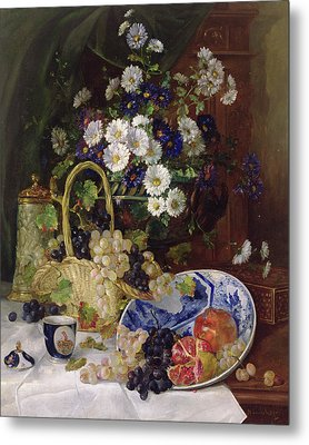 Still Life With Flowers And Fruit Metal Print by Eugene Henri Cauchois