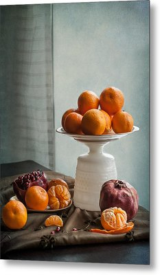 Still Life With Mandarins And Pomegranates Metal Print by Maggie Terlecki