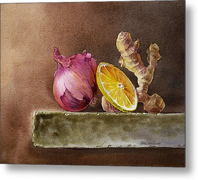 Still Life With Onion Lemon And Ginger Metal Print by Irina Sztukowski
