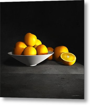 Still Life With Oranges Metal Print by Cynthia Decker
