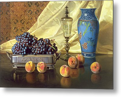 Still Life With Peaches Metal Print by Edward Chalmers Leavitt