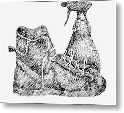 Still Life With Shoe And Spray Bottle Metal Print by Michelle Calkins