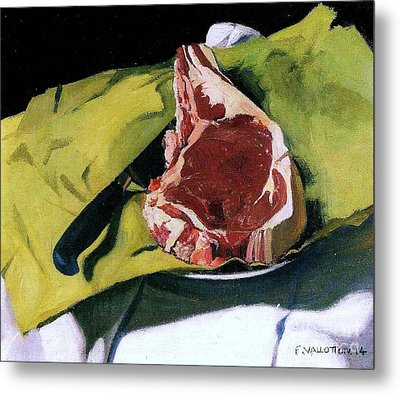 Still Life With Steak Metal Print by Pg Reproductions