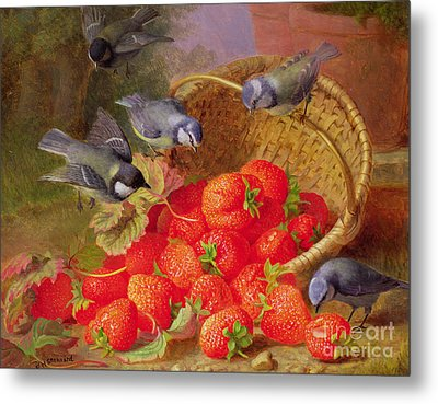 Still Life With Strawberries And Bluetits Metal Print by Eloise Harriet Stannard