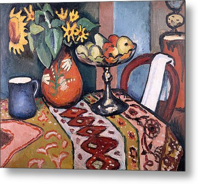 Still Life With Sunflowers II Metal Print by August Macke