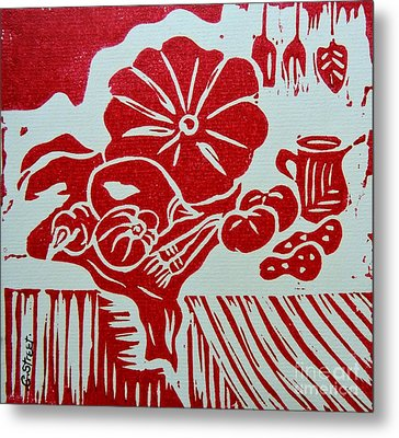 Still Life With Veg And Utensils Red On White Metal Print by Caroline Street